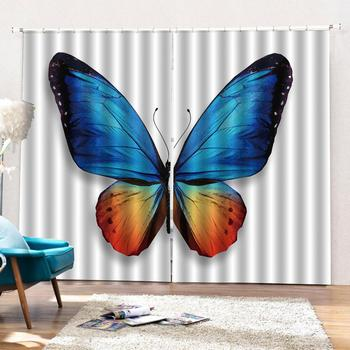 Beautiful Photo Fashion Customized 3D Curtains Painting color butterfly 3d Curtains Blackout for Living Room Kids Bedroom Fabric