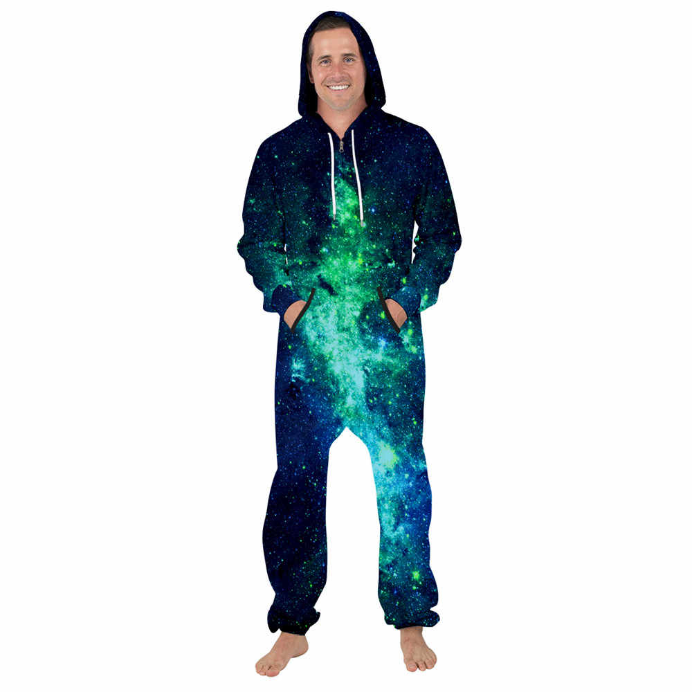 Monos hombre moda Oversize Casual Bodysuit personalidad Color espacio galaxia imprimir abrigos con capucha nuevo Streetwear para hombres