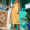 Strand Urlaub Gestrickte Kleid Frauen Sommer Sexy Backless Midi Kleid Party Club Verband Gelb Y2k Stil Bodycon Kleider Vestidos