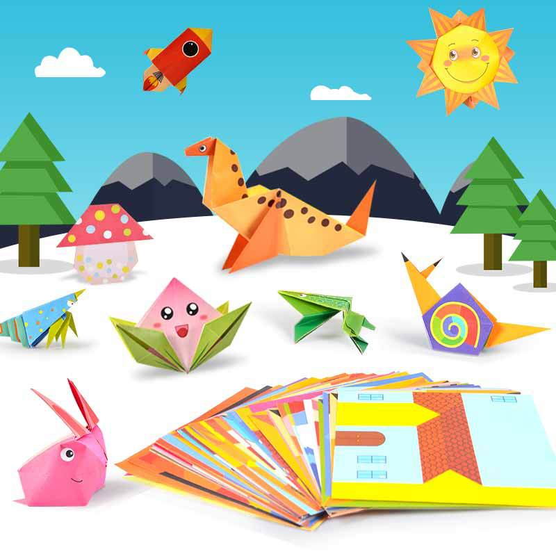 New Baby Craft Toys 3D 54Pages Origami Cartoon Animal Book Toy Kids DIY Paper Art Baby Early Learning Education Toys Gifts