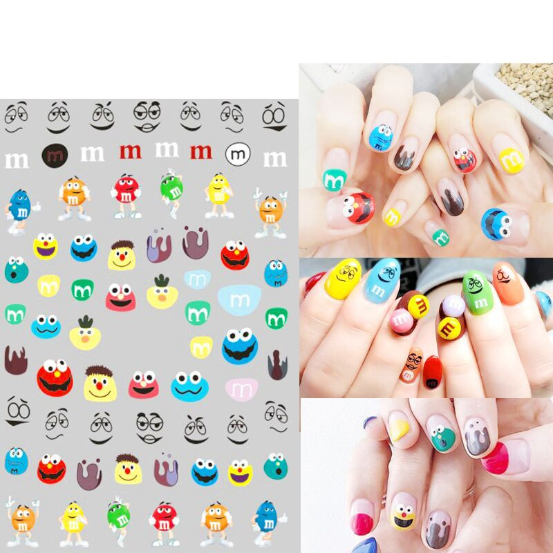 South Korea Hyuna Celebrity Style Smiley Tattoo Sticker Heart Tattoo MS-Style Cute GIRL'S Finger Tattoo Nail Sticker