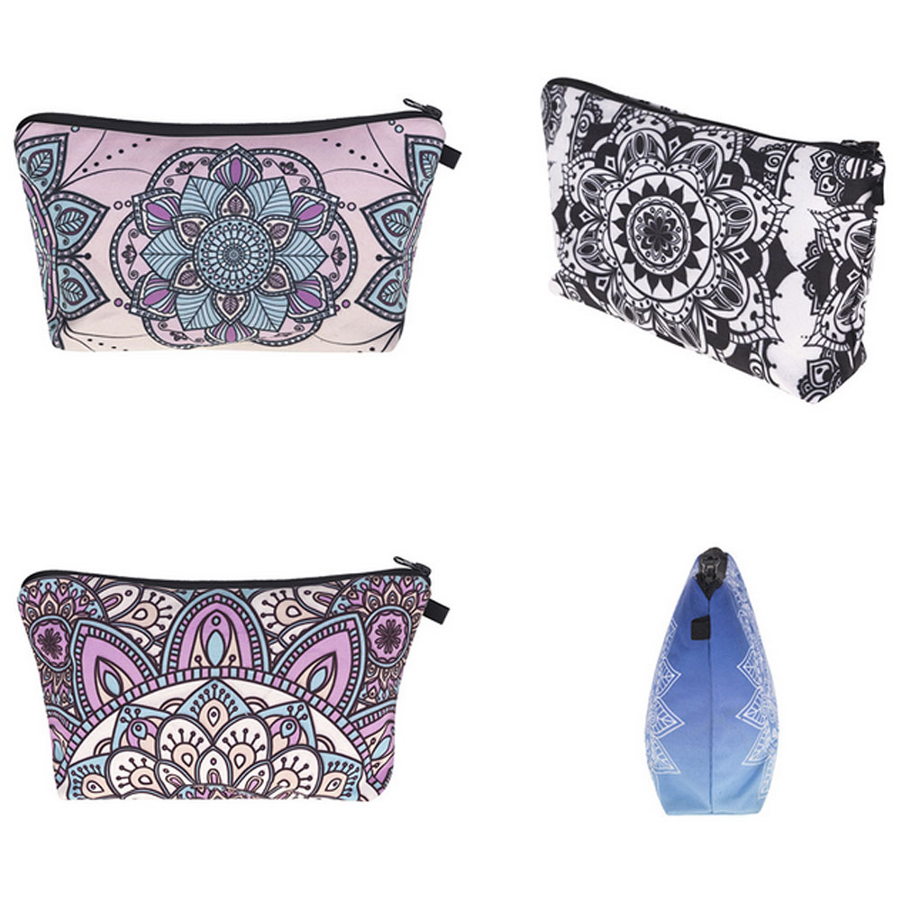 3D Mandala Flower Printed Cosmetic Bag Travel Zipper Handheld Makeup Pouch Beauty Case Toiletry Bag Organizer For Women