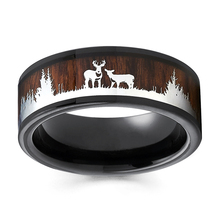 Men's Ring Jewellery Wooden Black Tungsten Vintage Fashion Engagement Rose-Gold Wedding
