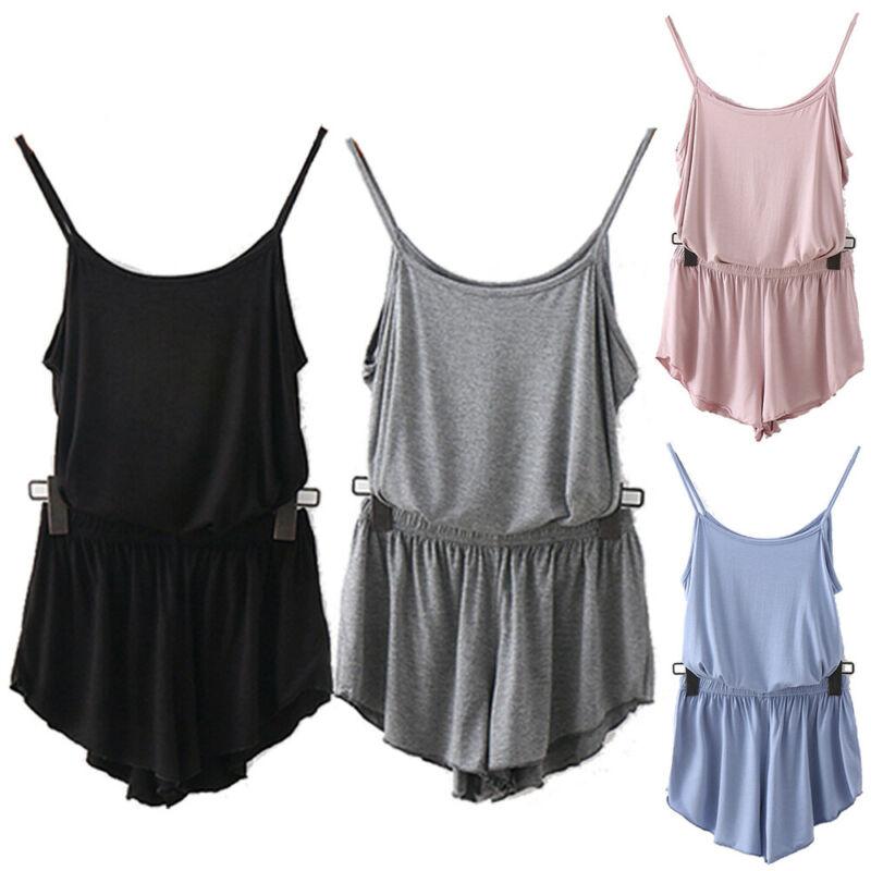 Women Sleepwear Pajamas Set Nightwear Camisole + Shorts Suit Home Solid Pajamas Set
