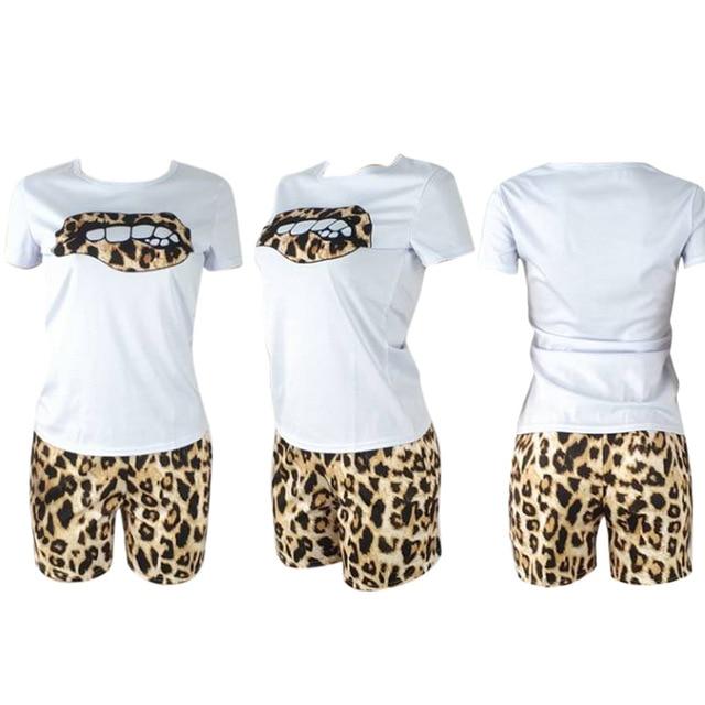 HAOYUAN grande taille deux pièces ensemble survêtement lèvres manches courtes hauts + léopard Shorts Festival correspondant ensembles 2 pièces tenues pour les femmes 4
