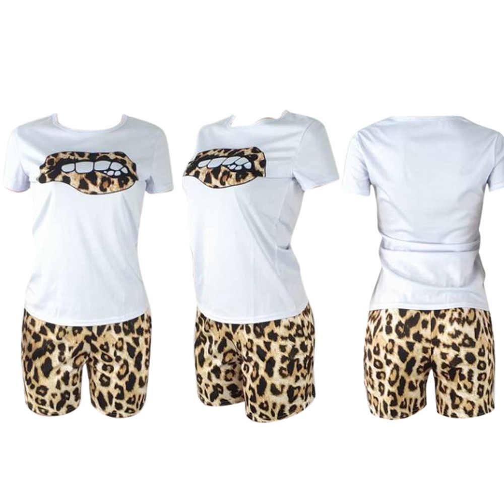 HAOYUAN de talla grande conjunto de dos piezas chándal labios camisetas de manga corta + pantalones cortos de leopardo conjuntos a juego de Festival conjuntos de 2 piezas para mujer