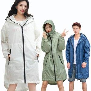 Image 1 - Długa, cienka płaszcz przeciwdeszczowy kobiety mężczyźni wodoodporny kaptur plecak płaszcz przeciwdeszczowy Ponchos kurtki płaszcz kobieta Chubasqueros Big Size