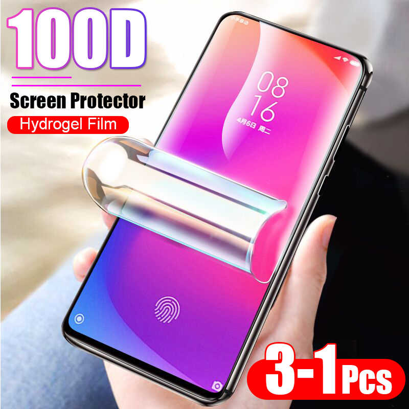 3-1Pcs 100D Full Cover Hydrogel Film For Xiaomi 9T Pro 8 Lite 9 SE cc9 Screen Protector For Xiaomi A1 A2 A3 Lite Protective Film