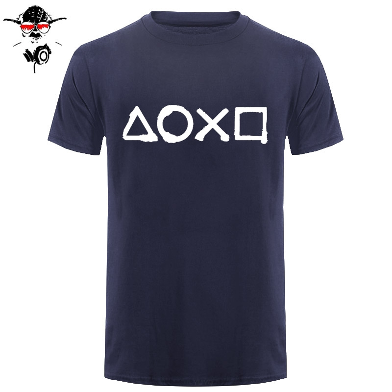 Free Shipping New Men Cotton T Shirt Playstation Buttons Casual T-shirt Men's Top Tees