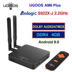 UGOOS AM6 Plus Amlogic S922X-J 2,2 Ghz Android 9,0 Tv Box 4GB DDR4 32GB 2,4G 5G Wifi 1000M BT5.0 4K Media Player para Dolby Atmos