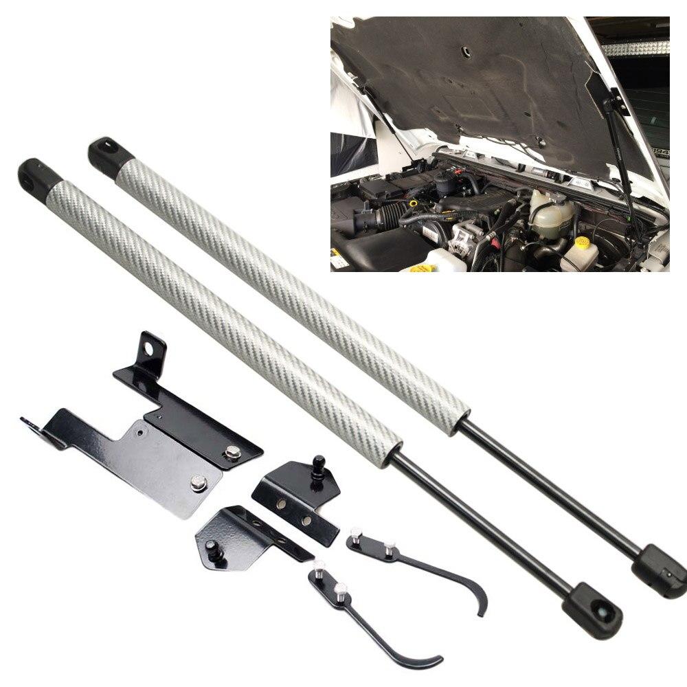 สำหรับ JEEP Wrangler (JK) 2007-2018 2x ด้านหน้า Hood Bonnet ปรับเปลี่ยนคาร์บอนไฟเบอร์แก๊ส Struts Lift Shock damper