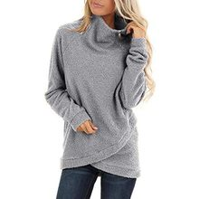 Womens sweatshirt Chunky Coltrui Sweatshirt Asymmetrische Hem Col Fleece Tops polerones mujer 2019(China)