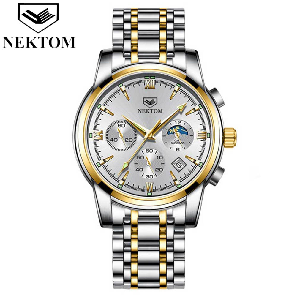 NEKTOM Luxury Men Automatic Mechanical Watch Ceramic Bezel 316L Stainless Steel 100ATM Waterproof Clocks Sapphire Glass Watches