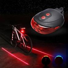 Mountain Bicycle Cycle Rear Tail Warning Lamp Waterproof 5 LED 2 Lasers 3 Modes Safety Light