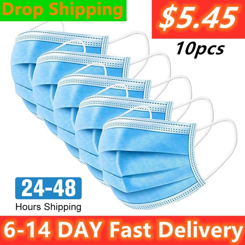 Disposable Masks 100pcs 50pcs Mouth Mask 3-Ply Nonwoven Elastic Earloop Mouth Face Masks Wholesale