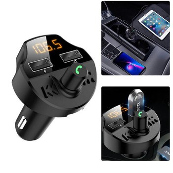 Car Fm Transmitter Car Fm Transmitter Bluetooth 5.0 Car Mp3 Player Modulator Adapter Battery TF Card Dual USB Smart Chip T66 image