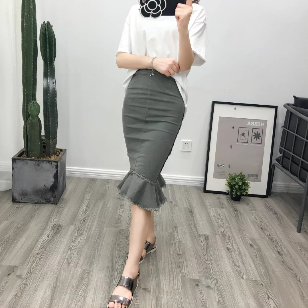 Korean-Style Retro CHIC Spring And Autumn New Style High-waisted Slim Fit Slimming Denim Skirt Sheath Fishtail Skirt Women's J84