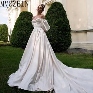 Image 1 - VINTAGE 2019 ชุดซาตินชุดเจ้าสาวปิดไหล่แขนยาวมือประดับด้วยลูกปัดชุด Robe de mariage