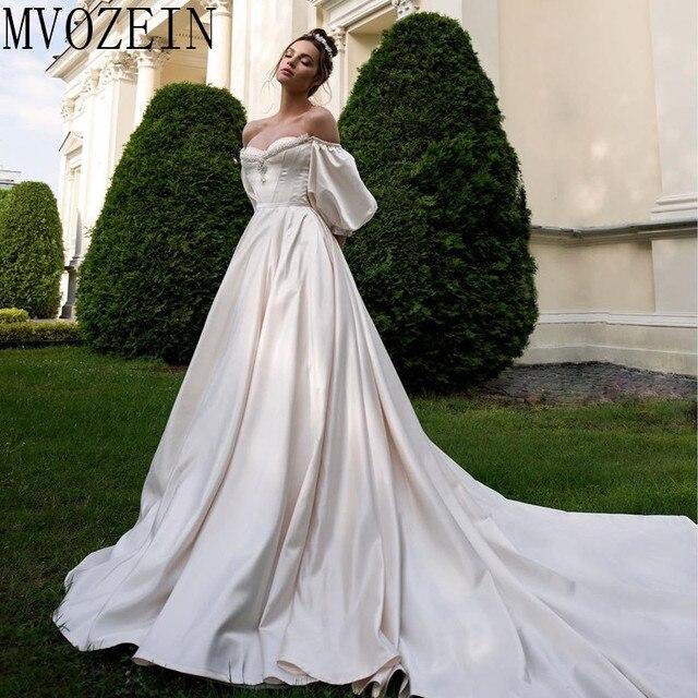 VINTAGE 2019 ชุดซาตินชุดเจ้าสาวปิดไหล่แขนยาวมือประดับด้วยลูกปัดชุด Robe de mariage