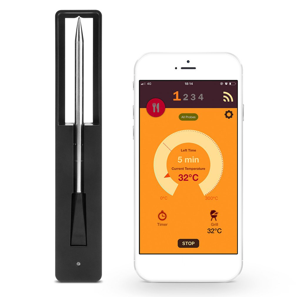 Wireless Meat Food Steak Thermometer for Oven Grill BBQ Smoker Rotisserie Kitchen Smart Digital Bluetooth Barbecue Accessories