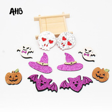 AHB 10Pcs Glitter Bats Pumpkin Appliques Shiny Felt Patches For DIY Girls Hair Clips Handmade Embellishment Accessories