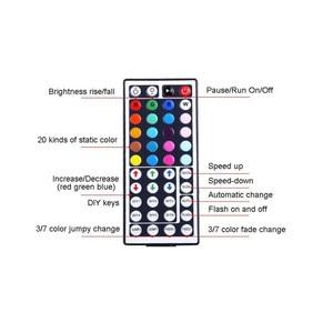 Image 3 - 5 מטר ללא עמיד למים גמיש צבע שינוי RGB SMD3528 300 נוריות רצועת אור + חדש 44 מפתח מרחוק בקרת 12V + 2A אספקת חשמל