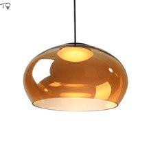 Pós moderna luxo lustre de vidro champanhe hanglamp design moderno luz simples restaurante mesa jantar luz da cozinha luminária
