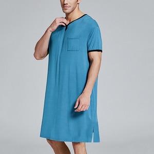 Мужская Ночная рубашка, комплект, летняя свободная одежда для отдыха, эластичная резинка на талии, Мужская одежда для сна, Хлопковая мужская...
