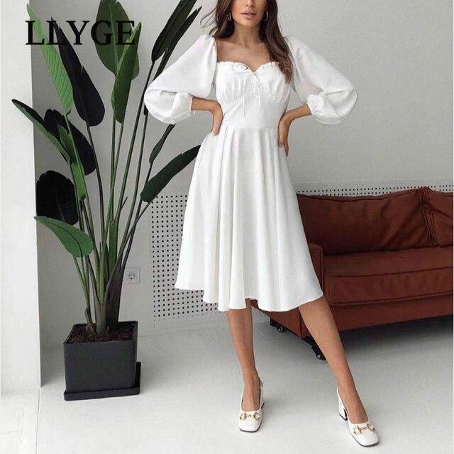 Elegant Spring White Women's Dress Vintage High Waist Puff Long Sleeve Female Dresses 2021 Spring Fashion Office Ladies Vestidos 1