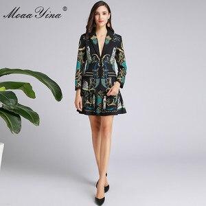 Image 3 - MoaaYina แฟชั่นฤดูใบไม้ผลิผู้หญิงฤดูใบไม้ร่วงแขนยาวชุดเสื้อ + กระโปรงจีบ VINTAGE พิมพ์สีดำ Elegant 2 ชิ้นชุด