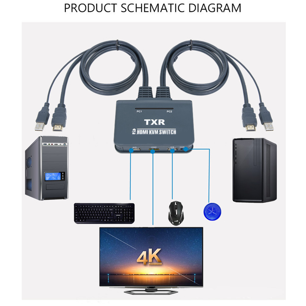 2 Port KVM Switch USB Plug And Play Button Accessories With Cables TV Projector HDMI Keyboard Mouse Dual Monitor Splitter Box