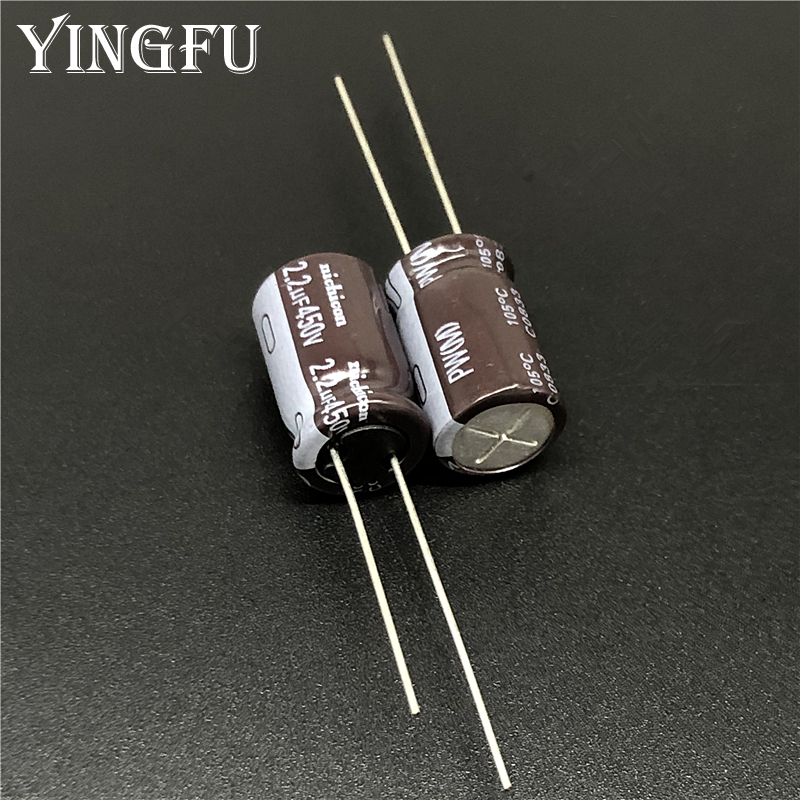 10pcs 2.2uF 450V NICHICON PW Series 10x16mm Low Impedance Long Life 450V2.2uF Aluminum Electrolytic Capacitor