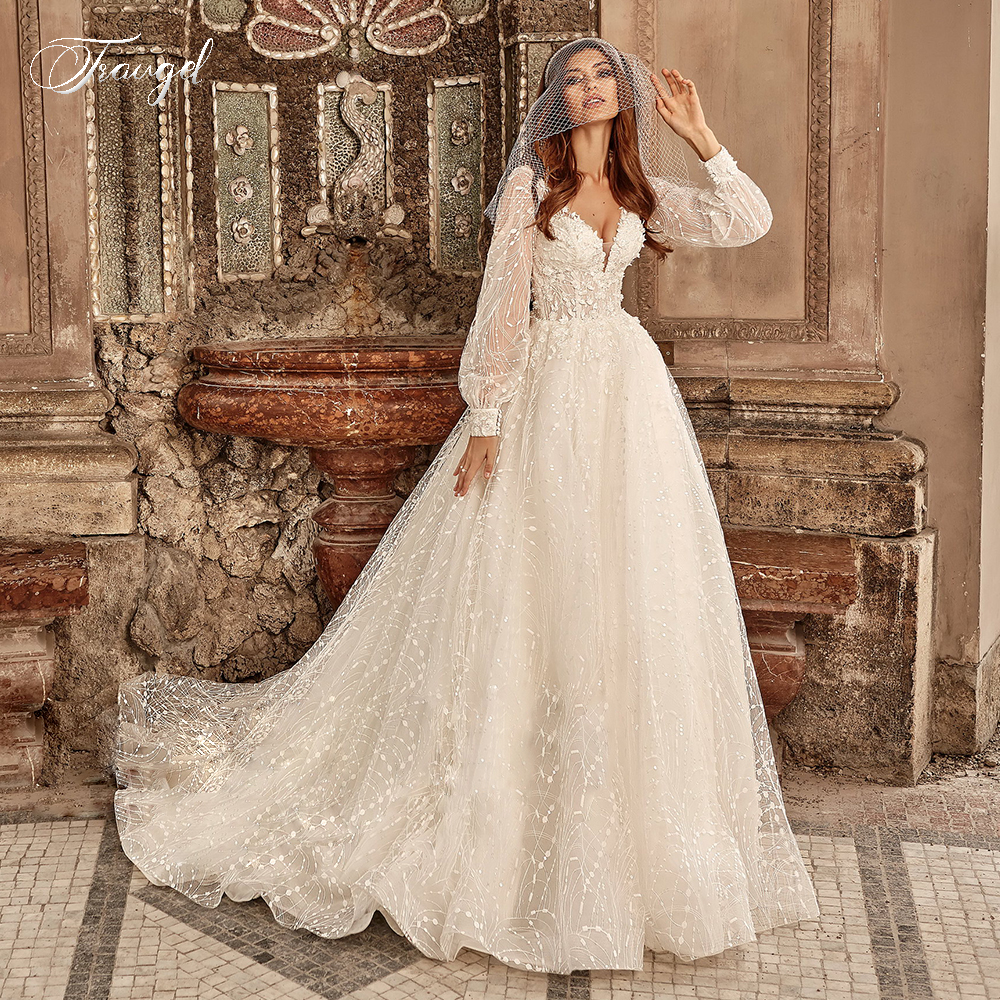 Traugel Vintage Luxury Sexy V Neck A Line Lace Wedding Dress Long Sleeve Elegant Bride Dress Court Train Wedding Gowns Plus Size