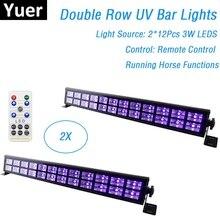 2XLot UV renk LED çubuk ışıkları 24X3W Mini LED sahne aydınlatma etkisi parti Club disko ışığı ev için ışık noel tatil süslemeleri