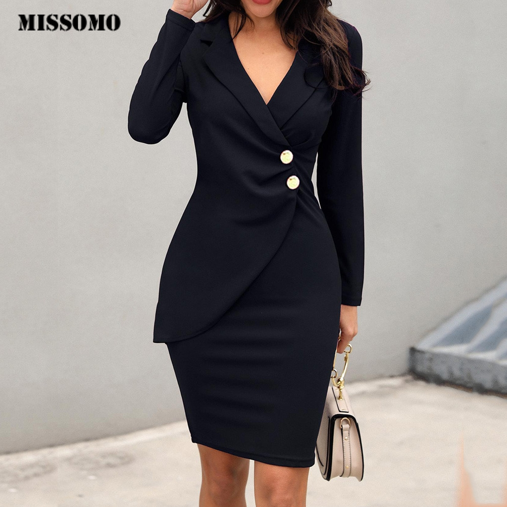 MISSOMO Formal Dress Women Elegant Long Sleeve Buttons Work Bodycon Dress Women Casaul Short Mini Dresses Party Vintage Vestidos