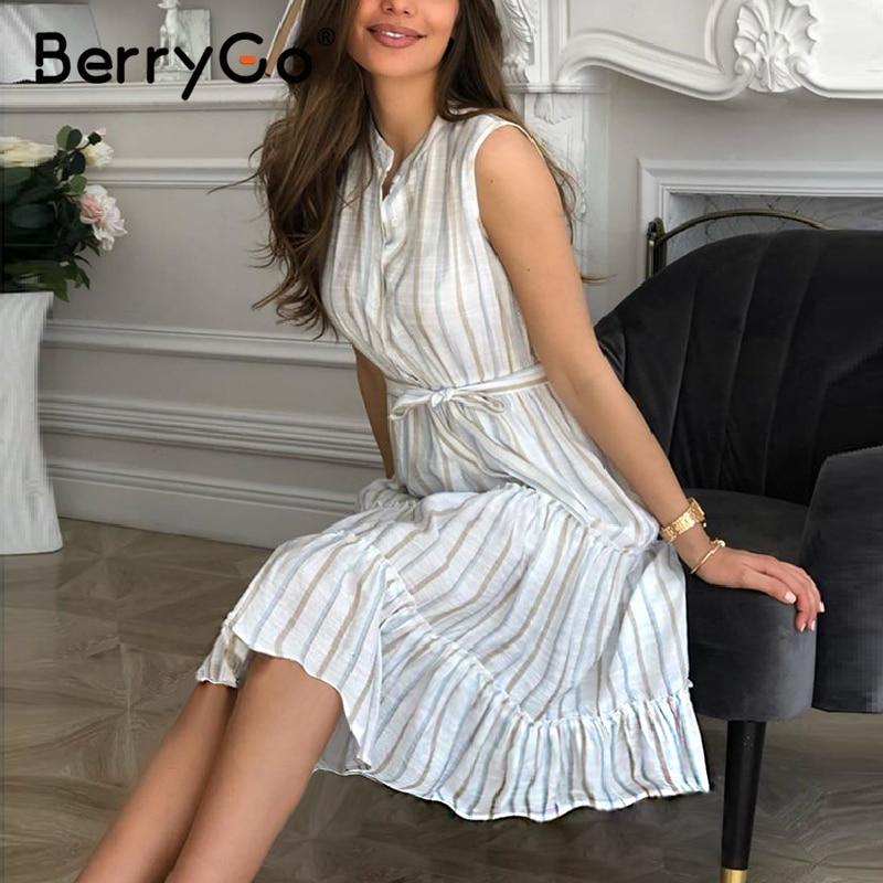 BerryGo Casaul Striped Summer Office Dress Sexy Sleeveless Button Women Dress High Waist Sash Ruffled Loose Long Dresses Ladies