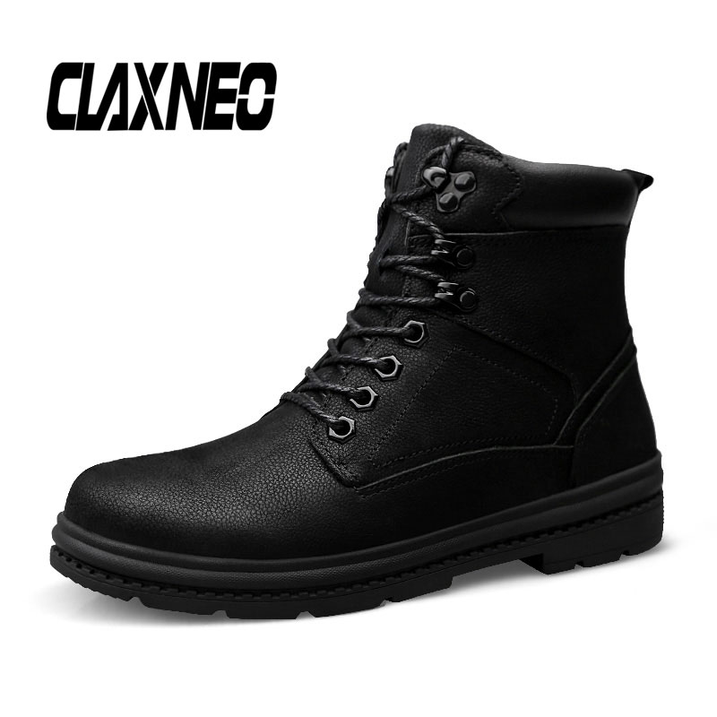 CLAXNEO Mans Winter Boots Plush Fur Genuine Leather Men's Boot High Top Male Snow Shoe Warm Plus Size Walking Footwear