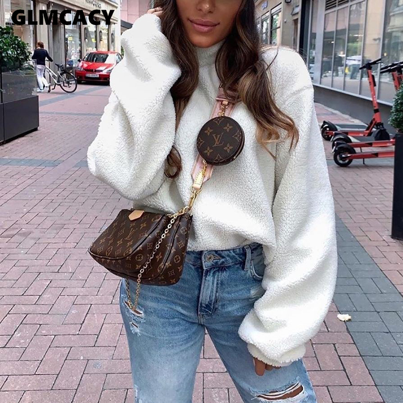 Women Long Sleeve Plus Size Fluffy Pullover Warm Hoodies Casual Chic Solid Spring Fall Streetwear Top Sweatshirts