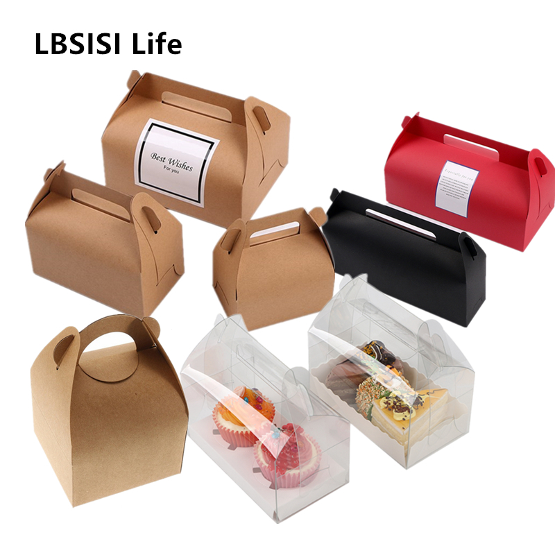 LBSISI Life 10pcs Cake Food Kraft Paper Box With Handle Boxes Christmas Birthday Wedding Party Candy Gift Packing With Sticker