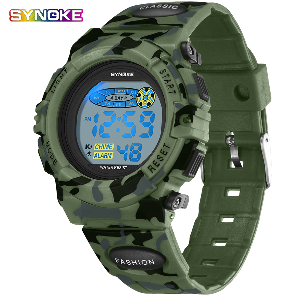 Synoke Kids Watches Military Wrist Clock Alarm Silicone Led Digital Watch Child Sport Wristwatches Date Casual Students Watches