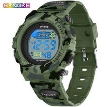 Synoke Kids Watches Military Wrist Clock Alarm Silicone Led