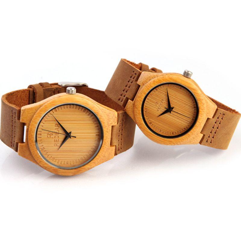 Luxury Men's Women's Bamboo Wood Watch Quartz Leather Fashion Wrist Watches