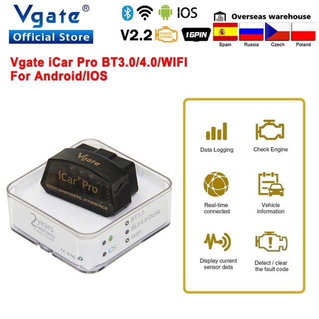 Vgate iCar Pro Bluetooth 4.0 OBD2 Car diagnostic Scanner OBD 2 WIFI elm327 Auto Scan Tool ODB2 For Android/IOS PK ELM 327 V 1 5