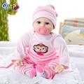 55cm roupas rosa macaco interativo reborn, boneca pp algodão enchido mohair cabelo vinil lábio meninos e meninas feriados boneca de presente