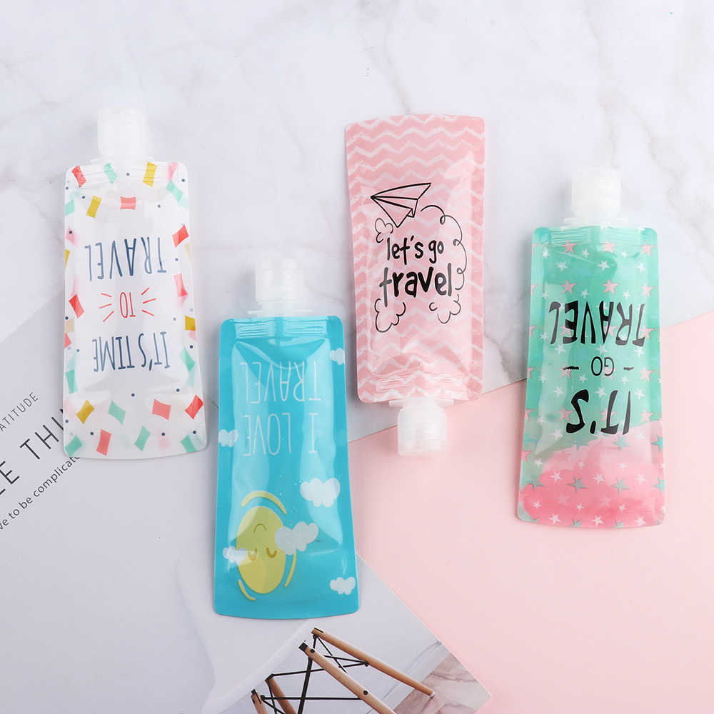 100ml Portable Liquid Dispensing Bag Shampoo Storage Bag Candy Color Lotion Packing Bottle Squeeze Makeup Container Travel