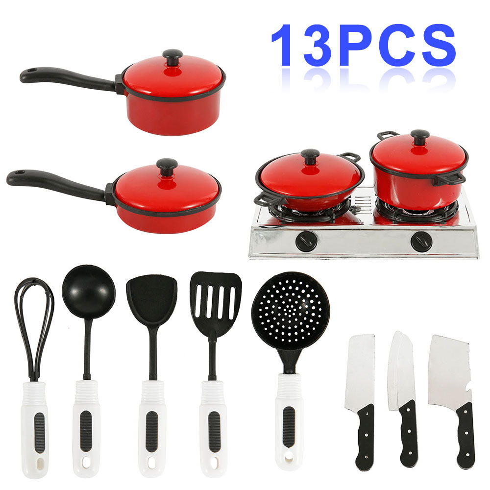 2020 Newest 13PCS Toddler Girls Baby Kids Play House Toy Kitchen Utensils Cooking Pots Pans Food Dishes Cookware Toys Gift