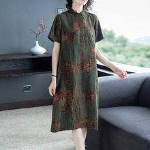 Turtle crack authentic Xiangyun yarn dress women's loose silk large size printing mulberry silk women's dress(China)