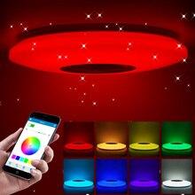 Luces LED de techo inteligentes RGB regulables, lámpara de techo con brillo de diamante para dormitorio, con Control remoto por aplicación Bluetooth, música y estrellas