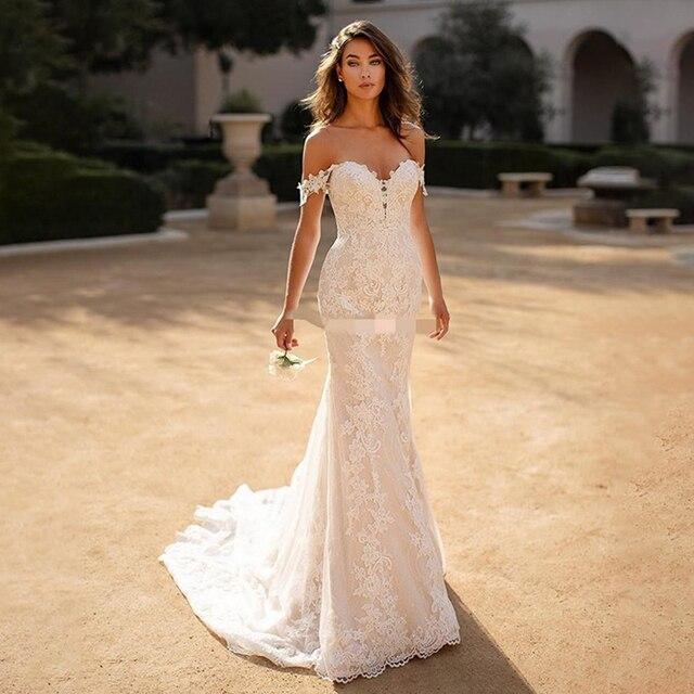 Mermaid Wedding Dress Boho 2021 Sexy Off The Shoulder Lace appliques Backless Bridal Dress Plus Size vestido de noiva 1