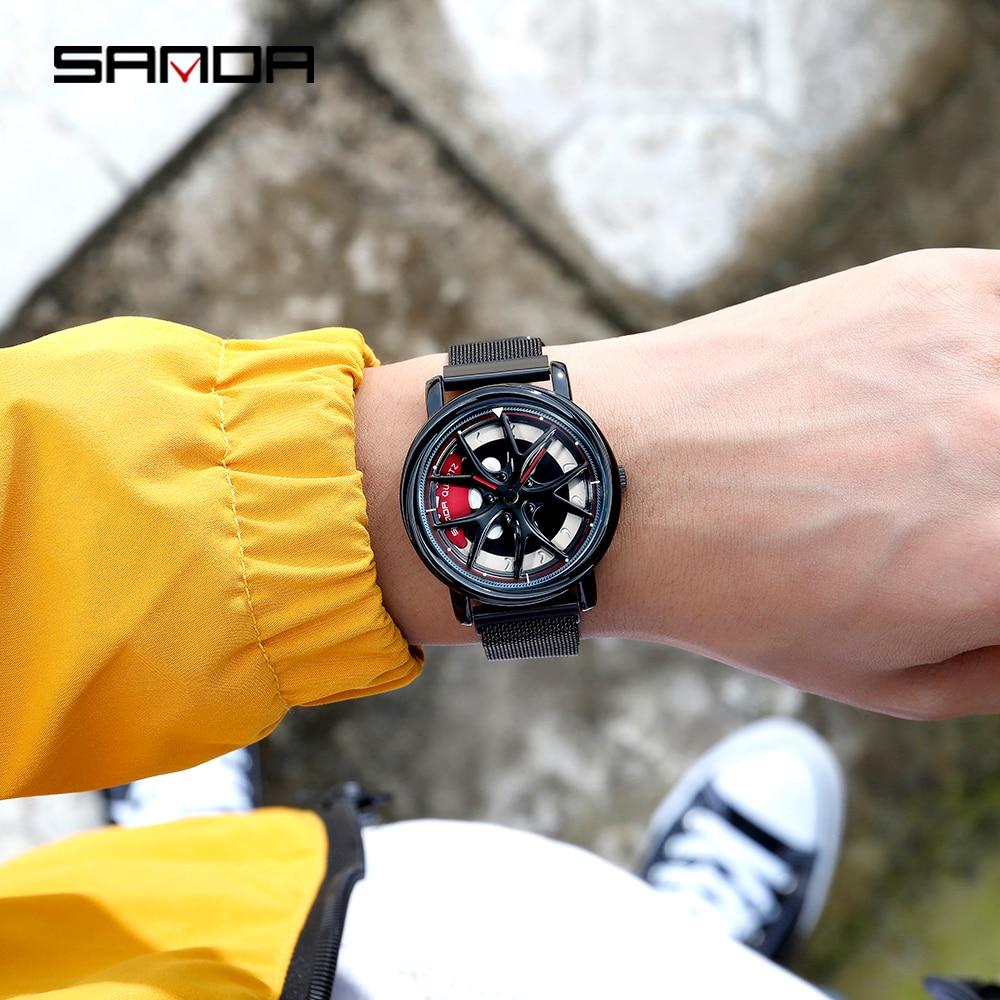 Image 5 - Sanda 2020 venda quente relógio masculino à prova dwaterproof água rotativa dial roda relógios ímã fecho de quartzo relógio pulso presentes relogio masculino 1025Relógios de quartzo   -